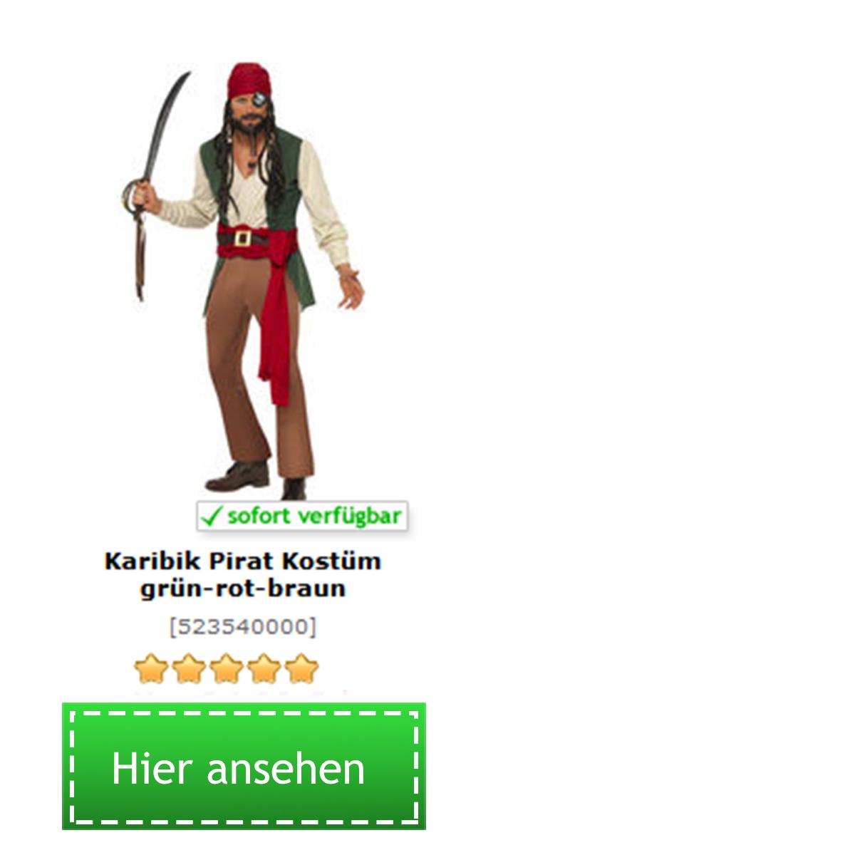 Captain Jack Sparrow Kostüm von Fluch der Karibik